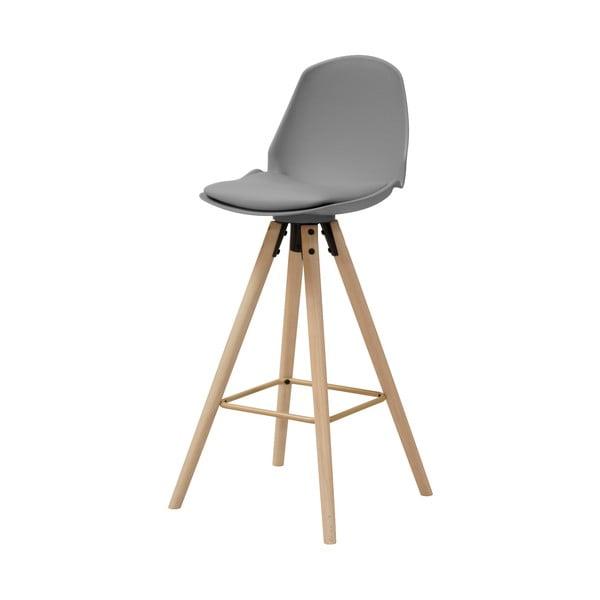 Šedá barová židle s podnožím z dubového dřeva Actona Oslo I.