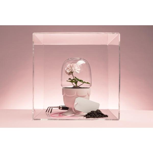 Květináč s poklopem  Sagaform Greenhouse, světle růžový