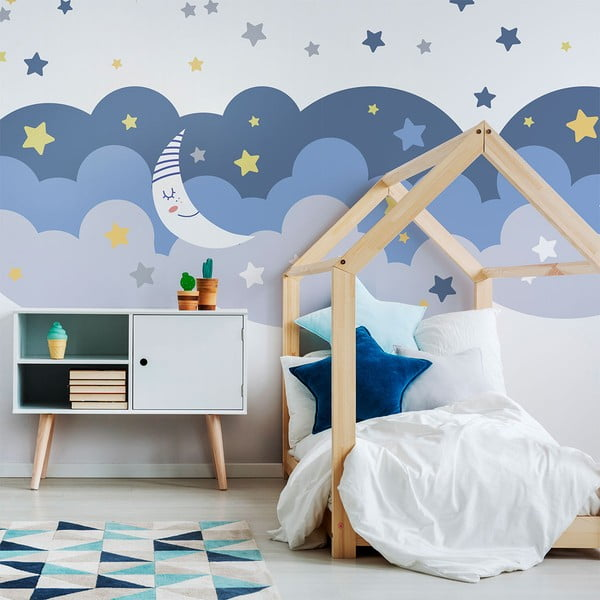 Nástenná samolepka Ambiance Scandinavian Clouds With Stars And Moon