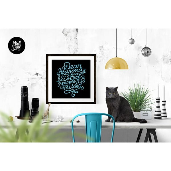 Plakát Dear Karma Blue, 42x42 cm