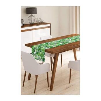 Napron din microfibră pentru masă Minimalist Cushion Covers Green Jungle Leaves, 45x145cm imagine