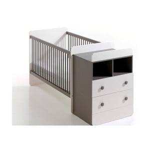 Dětská bílo-hnědá variabilní postel s úložnou zásuvkou a komodou BEBE Provence Combo