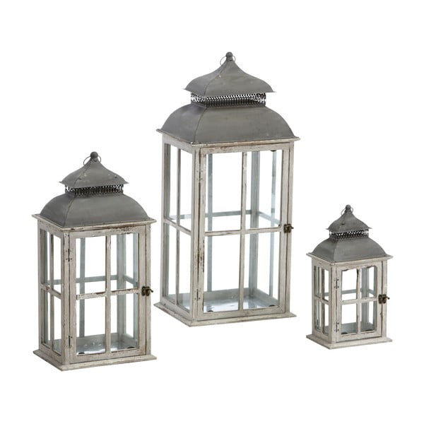 Sada 3 luceren Antique 79, 58 a 37 cm, bílé