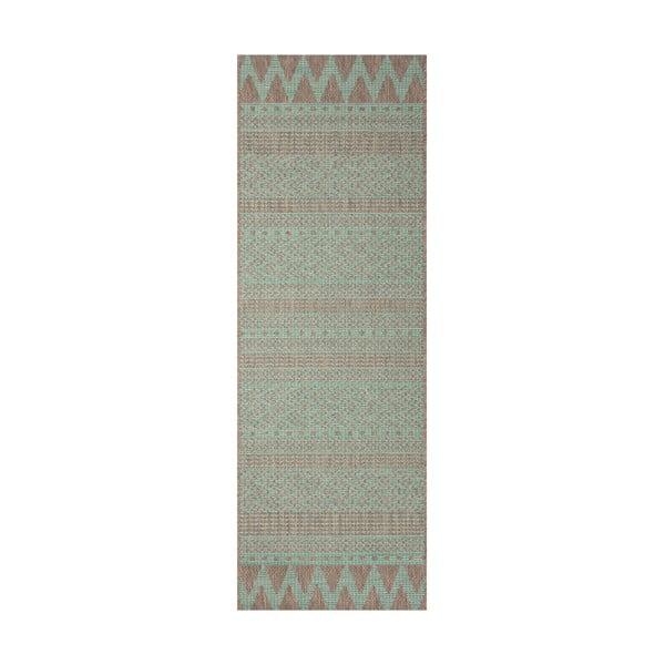 Sidon zöld-bézs kültéri szőnyeg, 70 x 200 cm - Bougari