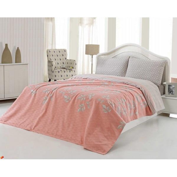 Sada přehozu přes postel a prostěradla US Polo 200x220 cm, Salmon and Grey
