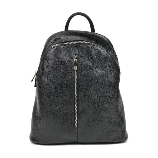 Černý kožený batoh Carla Ferreri, 37 x 32 cm