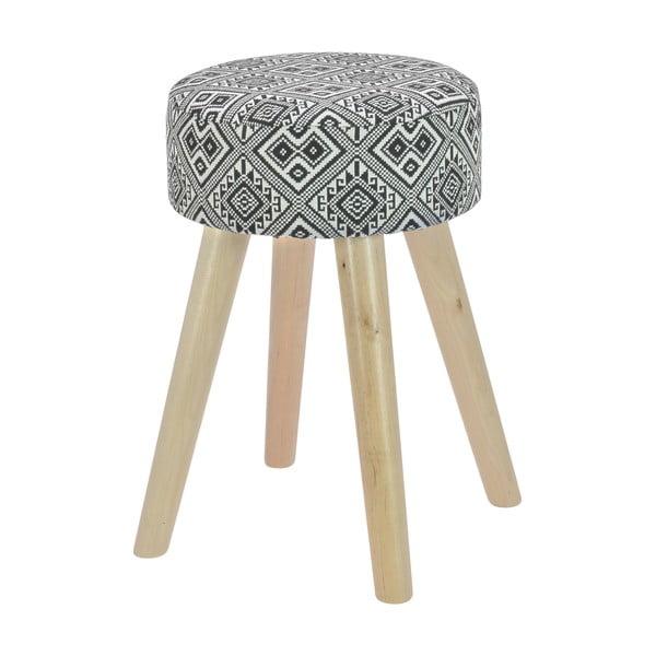 Dřevěná stolička s látkovým potahem Squares Black & White