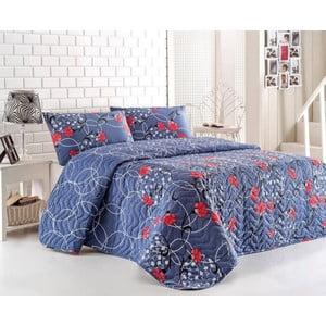 Sada prošívaného přehozu přes postel a dvou polštářů Blue Red, 200x220 cm