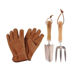 Set zahradnických nástrojů a kožených rukavic Esschert Design Pond