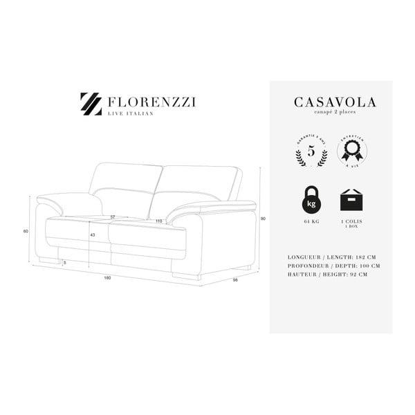 Světle šedá dvoumístná pohovka Florenzzi Casavola