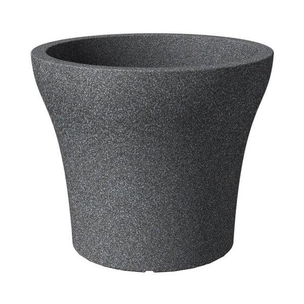 Venkovní květináč Stone Granit 40 cm, černý