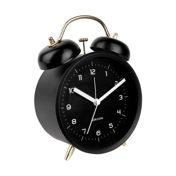 Czarny budzik Karlsson Classic Bell, ⌀ 14 cm
