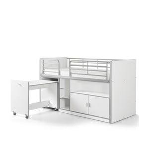 Bílá palanda s vysouvacím stolkem a úložným prostorem Vipack Bonny, 200 x 90 cm