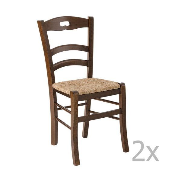 Sada 2 tmavých dřevěných jídelních židlí Castagnetti Lavagna