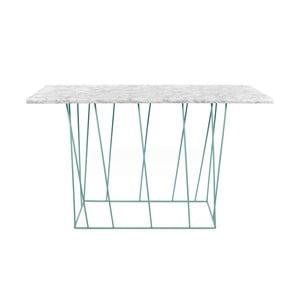 Bílý mramorový konzolový stolek se zelenými nohami TemaHome Helix