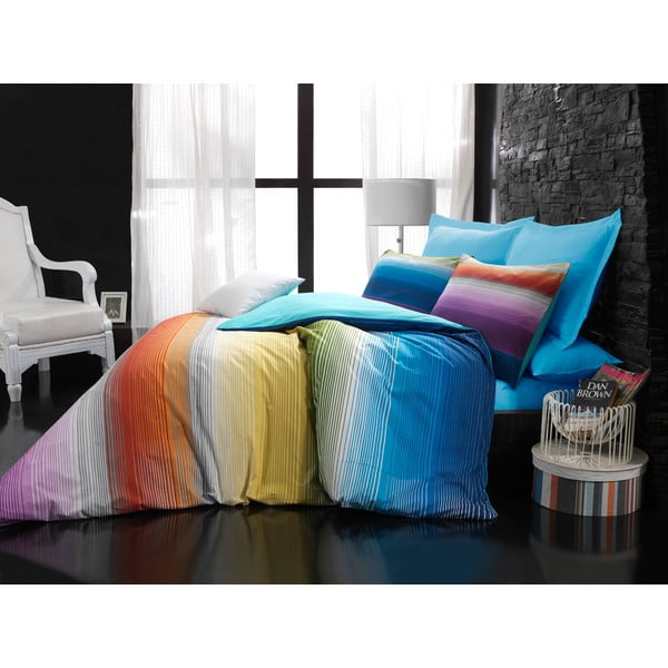 Povlečení s prostěradlem Rainbow Turquoise, 160x220 cm