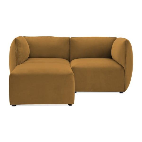 Canapea modulară cu 2 locuri și suport pentru picioare Vivonita Velvet Cube, galben muștar