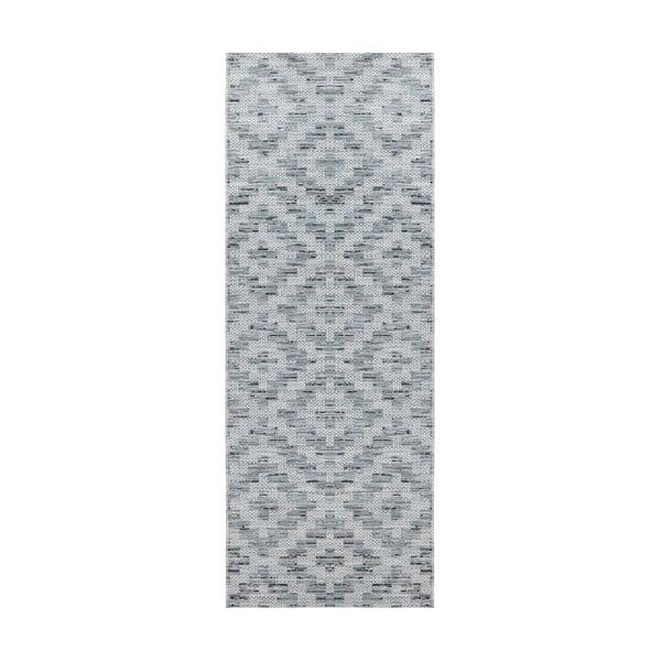 Modro-šedý běhoun vhodný do exteriéru Elle Decor Curious Creil, 77 x 200 cm