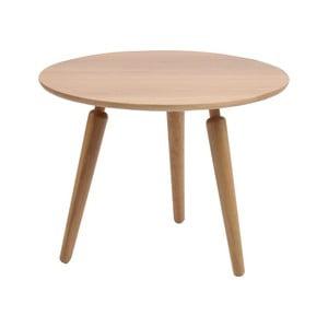 Přírodní konferenční stolek z dubového dřeva Folke Cappuccino, výška 45cmx∅60cm