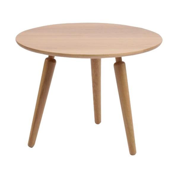 Masă cafea din lemn de stejar Folke Cappuccino, înălțime 45cmx∅60cm