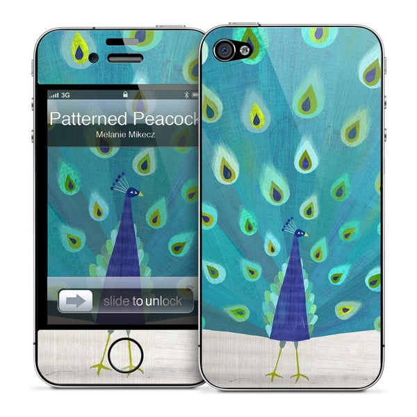 Samolepka na iPhone 4/4S, Patterned Peacock