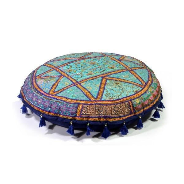 Ručně vyšívaný olštář Rajastan, modrý