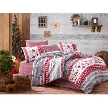 Lenjerie cu cearceaf pentru pat dublu, din bumbac ranforsat Nazenin Home Snow Grey, 200 x 220 cm de la Nazenin Home