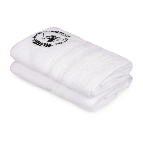 Sada dvou bílých ručníků Beverly Hills Polo Club, 100x50cm