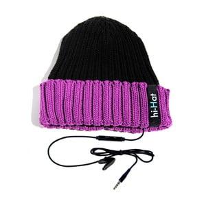 Hi-Hat Zimní čepice se sluchátky, černá/fialová