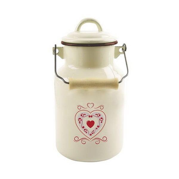 Smetanově bílý smaltovaný džbán na mléko Dakls, 2 l