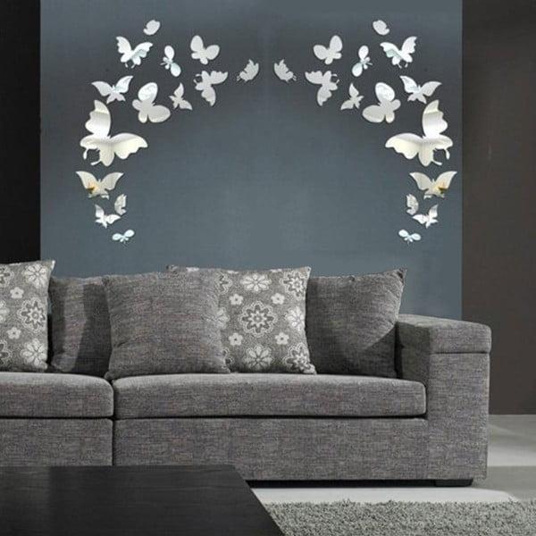 Set 28 autocolante oglindă de perete Ambiance Butterfly