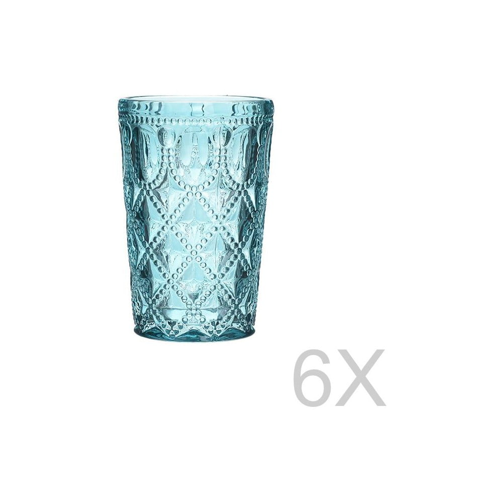 Sada 6 skleněných transparentních modrých sklenic InArt Glamour Beverage, výška 13,5 cm