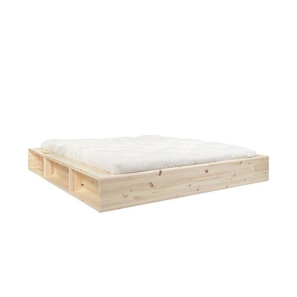 Pat din lemn masiv cu spațiu de depozitare și futon Comfort Karup Design, 140x200cm, natural