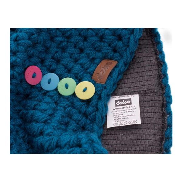 Căciulă tricotată manual cu nasturi DOKE Petrol, albastru