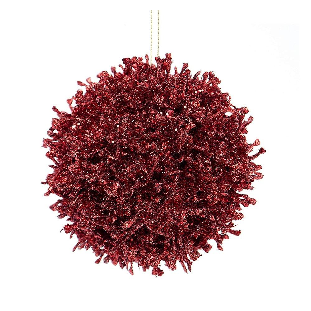 Sada 6 vínově červených plastových vánočních ozdob DecoKing Coral