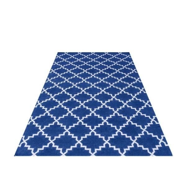 Tmavě modrý vlněný koberec Bakero Eugenie, 200x140cm
