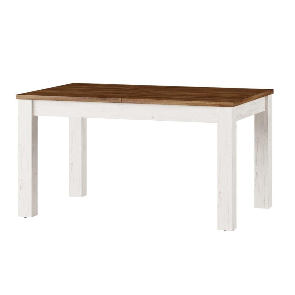 Bílý rozkládací jídelní stůl Szynaka Meble Country, 140/214x90cm