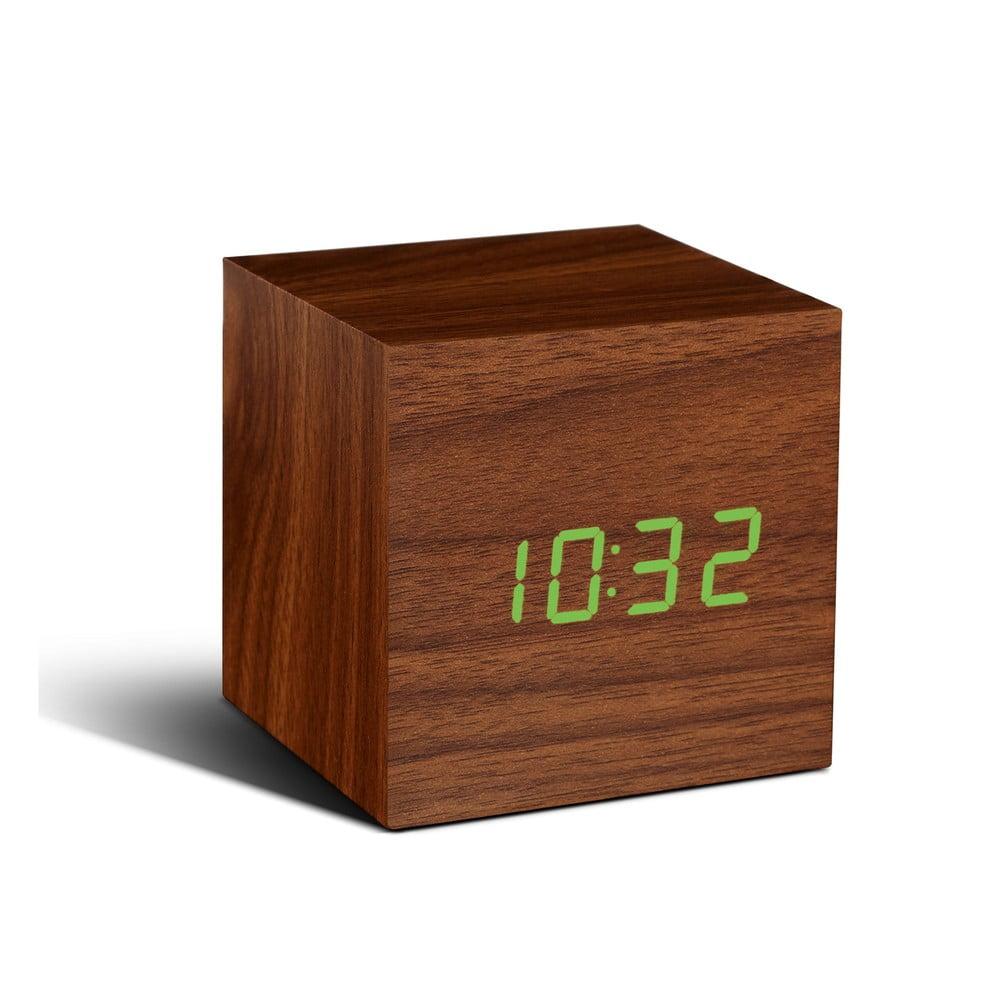 Tmavě hnědý budík se zeleným LED displejem Gingko Cube Click Clock