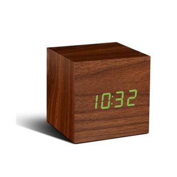 Ceas deșteptător cu LED Gingko Cube Click Clock, maro - verde imagine