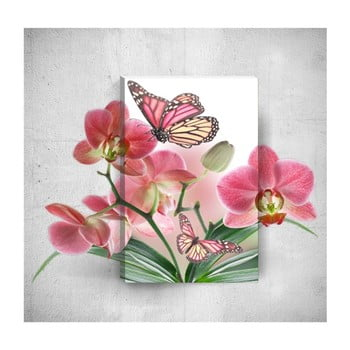 Tablou de perete 3D Mosticx Butterflies With Flowers, 40 x 60 cm