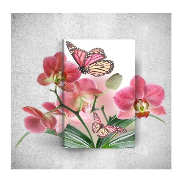 Nástěnný 3D obraz Mosticx Butterflies With Flowers, 40 x 60 cm
