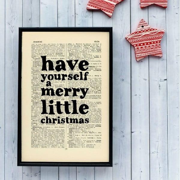 Plakát v dřevěném rámu Merry Little Christmas