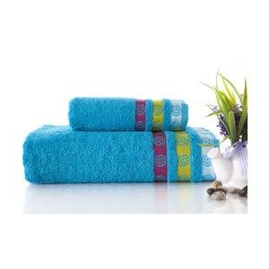 Set dvou ručníků Truva Turquoise, 90x150 a 50x90 cm