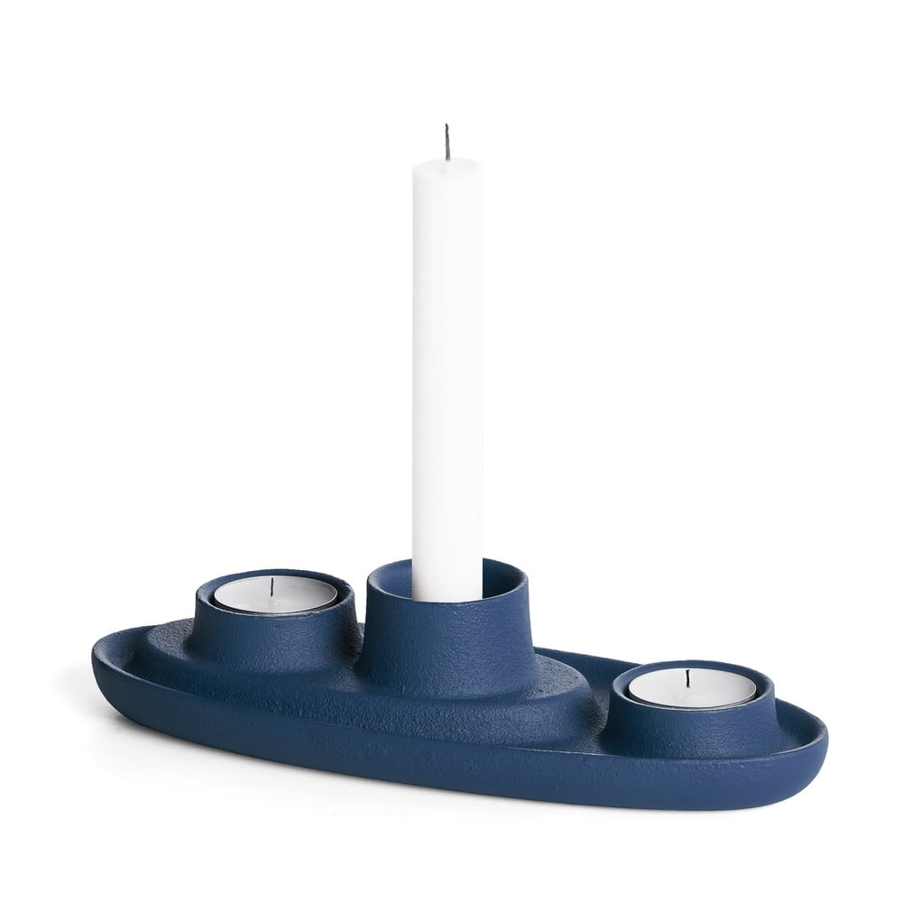Tmavě modrý svícen EMKO Aye Aye Three Candles