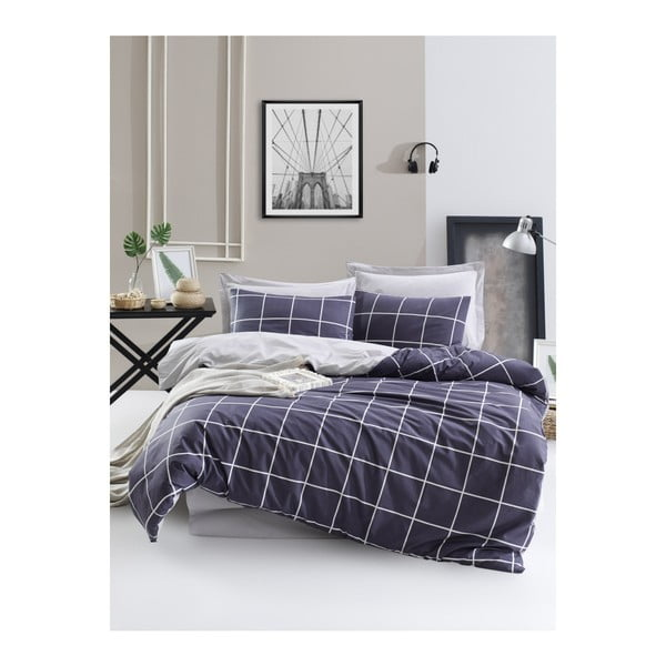 Lenjerie de pat cu cearșaf din bumbac ranforce, pentru pat dublu Mijolnir Jitka Dark Blue, 160 x 220 cm