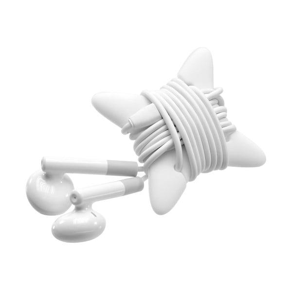 Bílá pecková sluchátka s mikrofonem Fixed EGG2 a organizérem