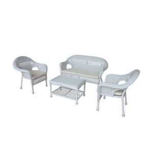 Zahradní stůl s pohovkou a dvěma křesly Rustical, bílý