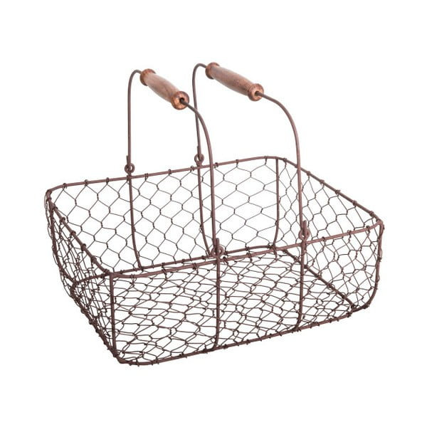 Koszyk metalowy z 2 drewnianymi uchwytami Antic Line