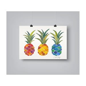 Poster Americanflat Pineapples Rainbow, 30 x 42 cm