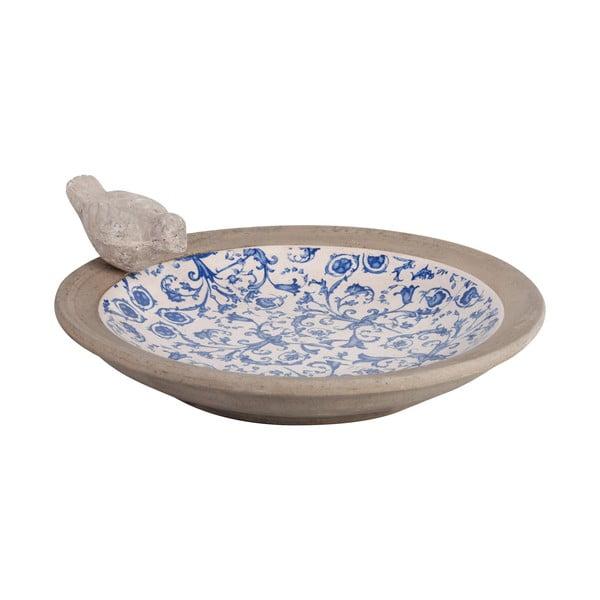 Modro-biele keramické napájadlo pre vtáčiky Esschert Design